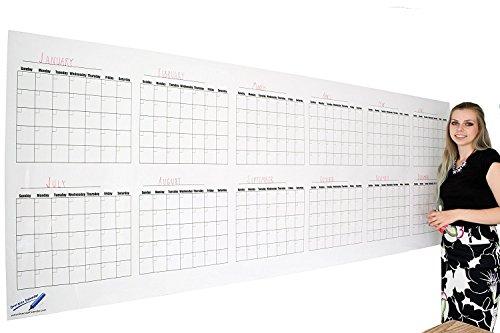 Calendario annuale da parete, cancellabile; scadenzario bianco da muro; calendario grande 91,4x...