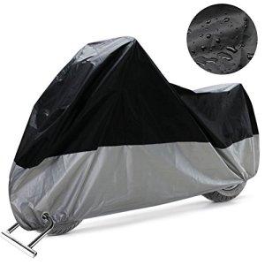 COFIT Motorradabdeckung Winterfest, Motorradplane Anti Wind Staub UV Regen Feuchtigkeit Schnee mit Löchern für Motorradschloss 2