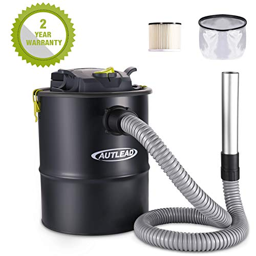 AUTLEAD Ash Vacuum Cleaner, 15L 900W Powerful Ash Suction, 1.2M Metal Hose, HEPA Filtration System, Copper Motor, Bagless Dust, Debris and Ash Collector for Fireplaces