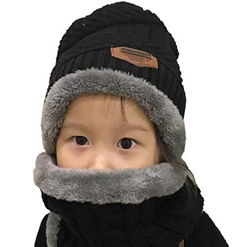Yuson Girl Conjunto de Bufanda y Gorro de Punto para niños Forro Polar de Lana Beanie Hat Sombrero Cuello Caliente (Negro)