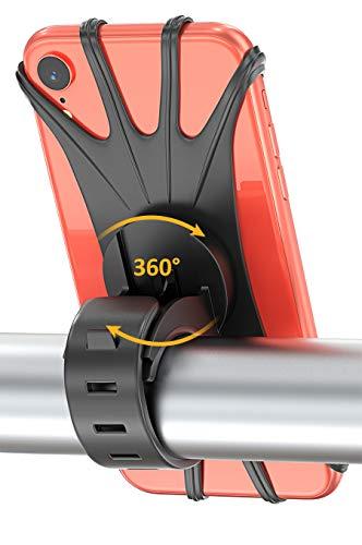 Bovon Handyhalterung Fahrrad für iPhone XS/X/8/7 Plus/6/6s Plus, Samsung Galaxy & Allen 4,0-6,0 Zoll Telefone, Universal Silikon Verstellbarer Handyhalter für Fahrrad Motorrad, 360° Rotation