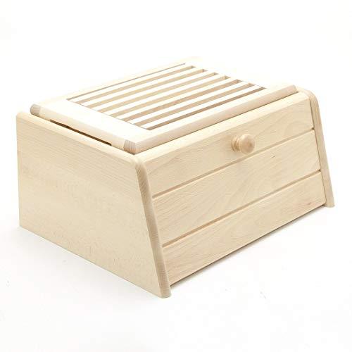 Holzfee Brotkasten mit Brotschneidbrett/Brotbox mit Brotschneidebrett