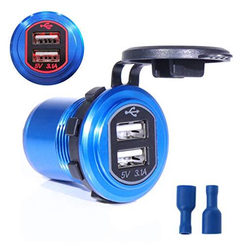Ranuw - Cargador de Coche de Aluminio para Motocicleta, Barco, 12 V/24 V, Doble USB, Adaptador de alimentación para teléfono móvil, Tableta, PC, GPS