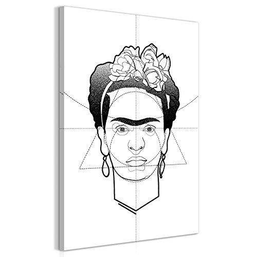 murando - Cuadro Blanco Negro 30x45 cm 1 Parte - impresión en Material Tejido no Tejido Cuadro de Pared impresión artística fotografía Imagen gráfica decoración - Frida Kahlo h-A-0096-b-a