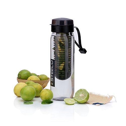 Steelo 750ml x 1 pcs Sante Infuser Water Bottle (Black)