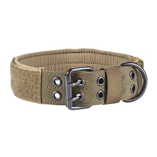 UKCOCO Collar de perro táctico de nailon para entrenamiento militar, collar de perro ajustable con hebilla de metal para perros pequeños, medianos y grandes, talla M (marrón)