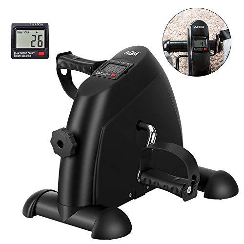 AGM Mini Cyclette, Mini Cyclette Pieghevole per Braccia e Gambe Pedaliera con LCD Display pedaliera da casa Regolabile Digitale Mani e Piedi(Mini Cyclette[Nero])