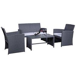 Rattanmöbel Set Gartenmöbel Rattan Lounge Polyrattan Sitzgruppe Garnitur Garten grau