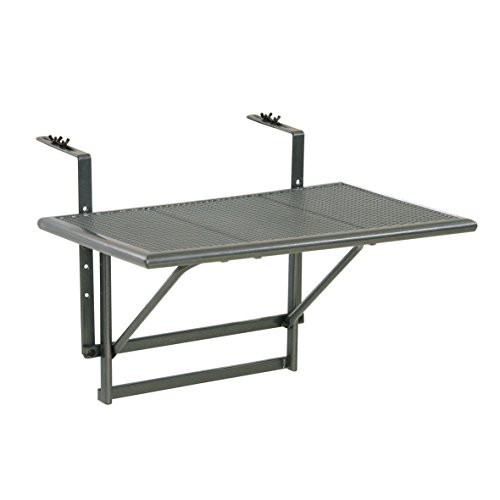 """Balkonhängetisch \""""Gjøvik\"""" - Balkontisch zum Einhängen aus Streckmetall & Kunststoffummantelung - Klapptisch kleiner Balkon - witterungsbeständig - Outdoor-Tisch, ca.60 x 40 x 56 cm, anthrazit-grau"""