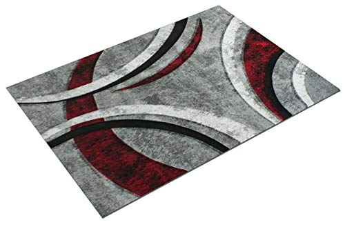 Paco Home Tappeto di Design con Bordo Definito Motivo A Righe Grigio Nero Rosso Screziato,...