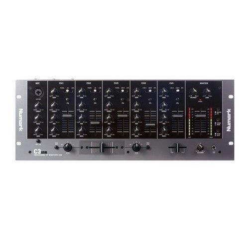 """Numark C3USB - Mezclador de DJ de Rack y Portátil de 5 Canales con Interfaz de Audio USB Interna """"Plug and Play"""", Ecualizadores de Canal, Crossfader Cambiable y Entradas/Salidas"""