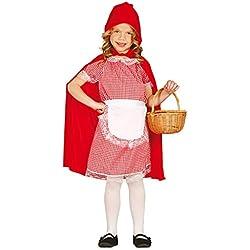Guirca - Disfraz de Caperucita con vestido y capa, para niños de 5-6 años, color rojo (81205)