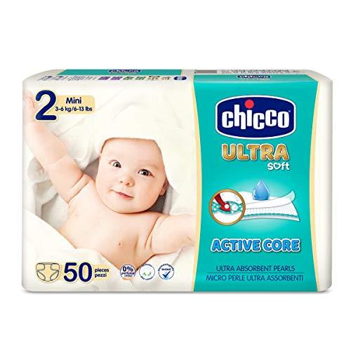 Chicco Chicco Ultra Soft - Confezione da 50 pannolini ultra assorbenti, taglia 2, 3-6 kg (Mini) 50 pz - Maxi 3-6 kg 50 pz