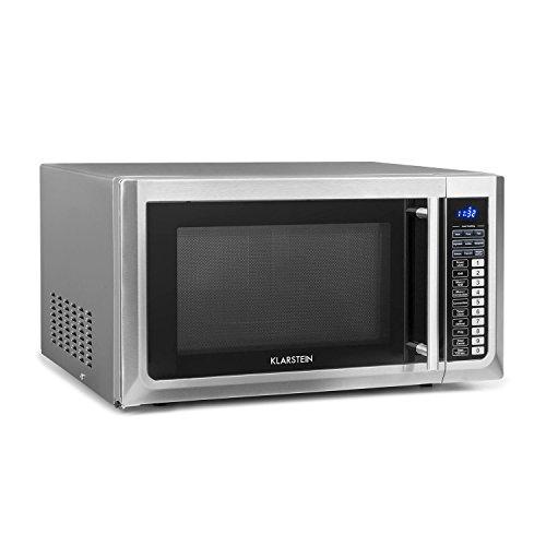 Klarstein Brilliance Pro 43 • Microondas 1000 W • Función grill 1250 W • Convección 2150 W • 43 L de volumen • 9 programas • Panel táctil • 20 kg • Incluye accesorios • Acero inoxidable • Plateado