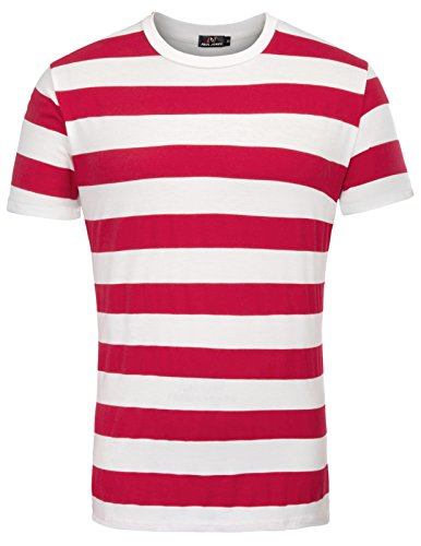 Camiseta para Hombre Slim Fit Camiseta de Manga Corta con Cuello Redondo a Rayas Tops Rojo M