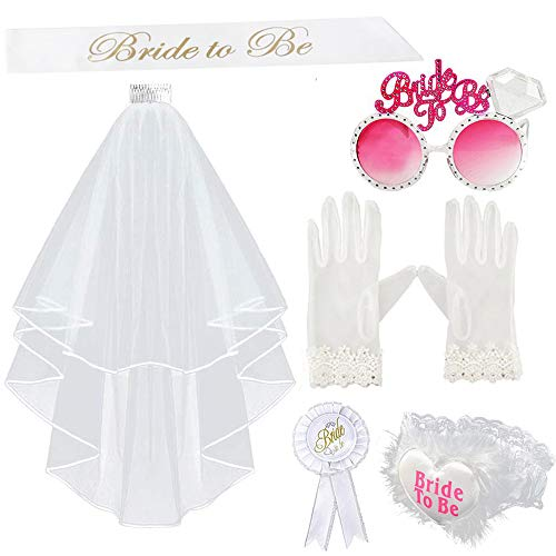 6pz Bride to be Kit Velo da Sposa Matrimonio Giarrettiera Spilla Occhiali Guanti Fascia Sposa...