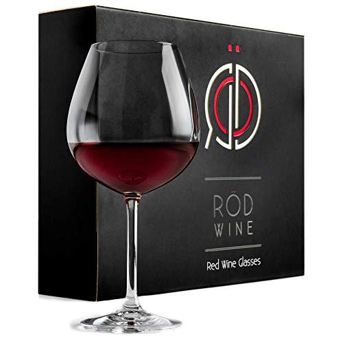 RÖD WINE Bicchieri Vino Rosso - Calici in Cristallo Infrangibili Senza Piombo - Ampia Coppa Ballon e Stelo Lungo - Ideali per Degustazione, Compleanno, Anniversario o Matrimonio - Set da 3, 650 mL