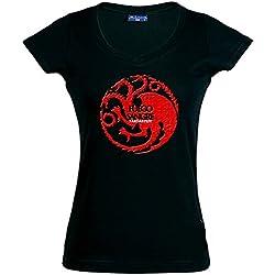 camiseta juego de tronos-Casa Tagaryen-manga corta chica (Talla: S Chica manga corta Ancho/largo[39cm/56cm])