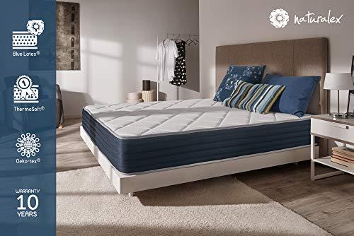 NATURALEX Matelas Supervisco - Mousse adaptative Blue Latex - Mémoire de Forme - 7 Zones de Confort - 25 cm - 140 x 190 cm - Très Haute Fermeté