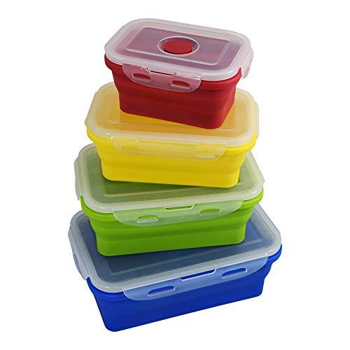 DAISTERN Faltbare Lunchbox Set Silikon Aufbewahrungsdosen Brotdose BPA frei, Spülmaschinengeeignet (ohne Deckel), Gefrierschrank- und Mikrowellegeeignet, 4-teilig