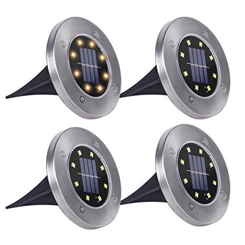 SanGlory 4 Pezzi Luci Solari Giardino 8 LED Luce 100 LM, Faretti LED da Giardino Solari 600mAh...