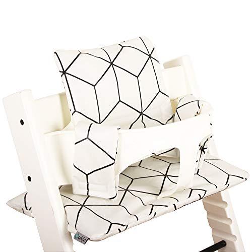 Cuscino Sedia Bambino Stokke Seggiolone Tripp Trapp  Protezione Imbottita Seggiolone Evolutivo  Tessuto Plastificato Comodo e Facile da Pulire BiancoGeometrico Nero