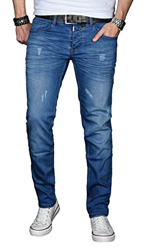 A-Salvarini-Designer-Herren-Jeans-Hose-Basic-Stretch-Jeanshose-Regular-Slim-AS033-Blau-Used-W38-L32
