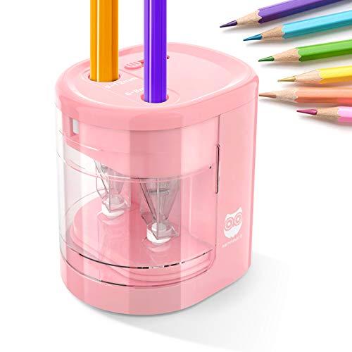HOMEWINS Elektrischer Anspitzer USB & Batterie Betrieben Anti-Rutsch Automatischer Bleistiftanspitzer mit 2 Löchern und 4 Klingen, Sicherer Spitzer für Kinder, Büro und Schule (Rosa)