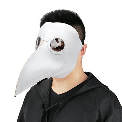 Cusfull Máscara de pico Falsa Piel Plaga Doctor Máscara Disfraz de Halloween  Cosplay Steampunk Costume para ... f2f4ecd1ed29
