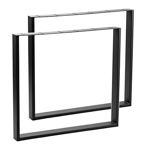 AUFUN Tischgestell Metall Tischbeine 2er Set Tischuntergestell Tischfuß Möbelfüße DIY Esstischgestell Tischbein, Couchtischgestell Esstischgestell, Schwarz, Rechteck 60 x 72 cm(BxH)