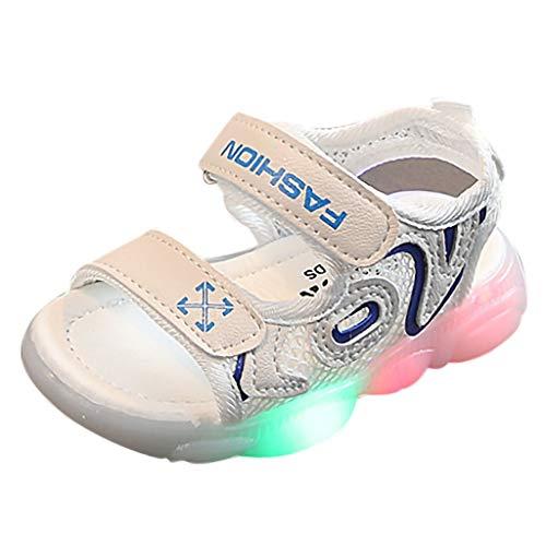Jimmackey Sandali Estivi Bambina Neonata Scarpe Unisex Scarpe LED Luminosi Scarpe con Le Luci Accendono Scarpe Sandalo Bambina con Chiusura in Velcro Sandali Punta Aperta Bambina