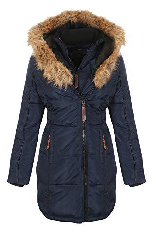 Geographical Norway Belissima - Parka invernale da donna, con cappuccio in pelliccia, XL blu navy L