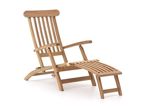 Sunyard Stabile Country Deckchair klappbar | Teakholz Gartenliege mit Fussteil | Sonnenliege aus unbehandeltem Teakholz, für Garten oder Balkon | Wetterfest, pflegeleicht, klassisches Aussehen