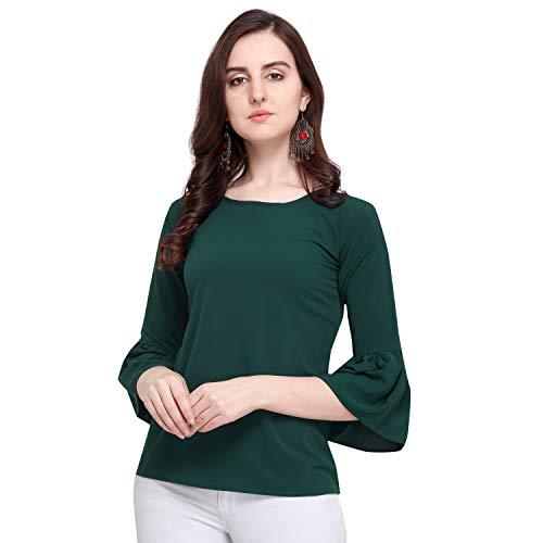 J B Fashion Women's Plain Regular fit Top (Fmania-top-187-S_Green_Small)