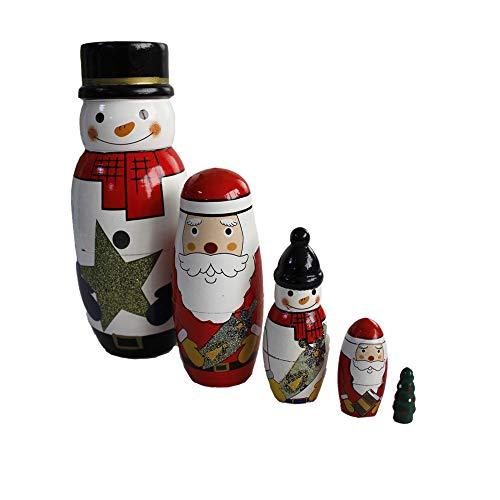 OJIN 5pcs Carino Natale Fatto a Mano Bambola di nidificazione Russa Set di Giochi Autentici accatast