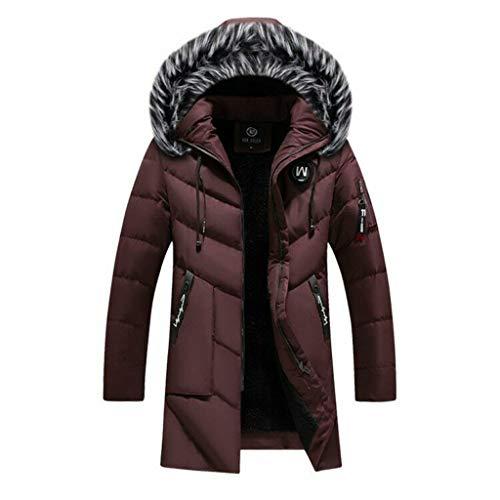Winter Storm Parka Plus Size Chamarras De Hombre Cappotto Trench Spesso con Cappuccio Lungo in Piuma (Rosso, XXL)