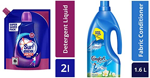 Surf Excel Front Load Matic Liquid Detergent Pouch - 2 L & After Wash Morning Fresh Fabric Conditioner, 1.6 L Combo