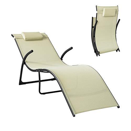 SoBuy OGS45-MI Sonnenliege klappbar Gartenliege Relaxstuhl Liegestuhl mit Kopfkissen Klappliege Beige Belastbarkeit 150 kg BHT ca: 60x69x173cm