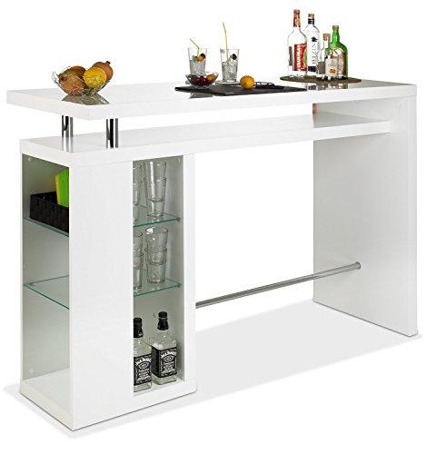 Bar Hausbar Cocktailbar Bartheke | Dekor Weiß Hochglanz | Glaseinlegeböden