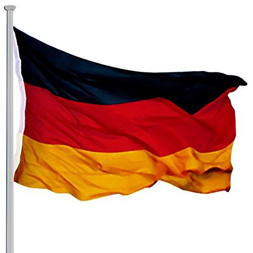 MONZANA® Aluminium Fahnenmast 6,50 m, inkl. Deutschland Fahne + Bodenhülse + Zugseil