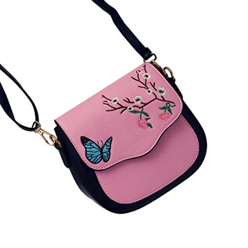 Bolso de hombro de la impresión de la flor de mariposa de las mujeres, bolso del mensajero por Morwind (Rosado)
