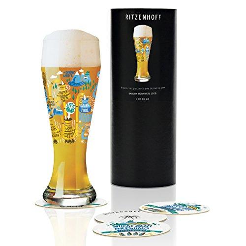 Ritzenhoff Weizen bicchiere da birra di Sascha morawetz, in vetro cristallo, 500ML, CON CINQUE birra Coperchi