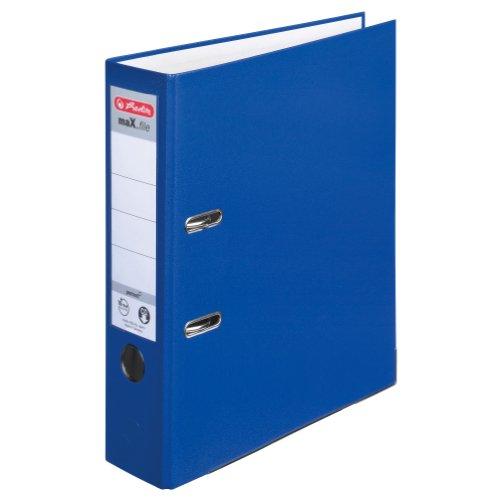 Herlitz 9942665 Ordner maX.file protect A4 8cm, PP-Kunststoffbezug/Papier hellgr.besch. 5er Packung, Farbe blau