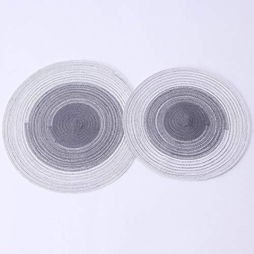 NIKIMI Tovagliette Rotonde Intrecciate Tovagliette in Filato di Cotone Gradiente Colore Bevande...