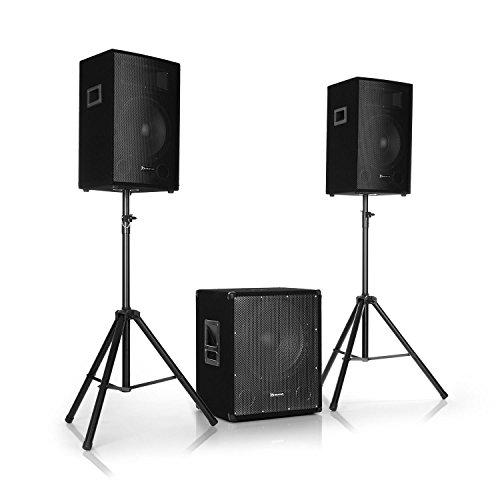"""AUNA Cube 1512-2.1 Aktiv PA-Set, 1200 W Gesamtleistung, 38 cm (15"""") Subwoofer, 2 x 30 cm (12"""") Lautsprecher, Bi-Amping Technologie, Echo, Bass- und Treble-Control, inkl. Zubehör, schwarz"""