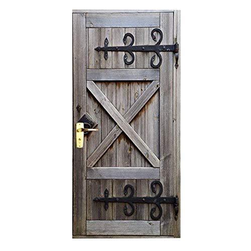 Baffect Pegatinas de puerta en 3D Puerta de madera DIY Papel autoadhesivo Puerta Mural etiqueta Art Decals Papel tapiz de la foto para el dormitorio calcomanía de la puerta de la casa