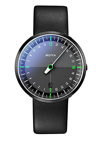 Botta-Design Herren-Armbanduhr, 24 Stunden Einzeigeruhr, UNO 24 NEO Black Edition, Analog, Quarz, Lederband, schwarz, BE228010