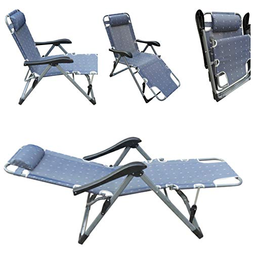 Amaze Living Room Reclining Recliner Push Back Easy Relax Portable Outdoor Indoor Sea Beach Swimming Pool Garden Farm House Home Sun Bed Lounger Chair -Grey
