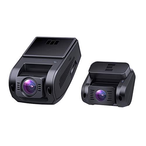 AUKEY Doppia Dash Cam 1080p Telecamera per Auto Obiettivo Grandangolare di 170 Gradi Dashcam con Super-Condensatore, Rilevatore di Movimento, Loop, G-Sensor e Caricatore USB da Auto a 2-Porta