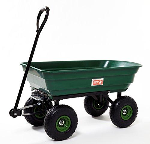 Izzy Bollerwagen Gartenwagen Handwagen Transportwagen 300 kg belastbar, klappbare Seitenwände Luftreifen (Kippbar - 75 Liter)